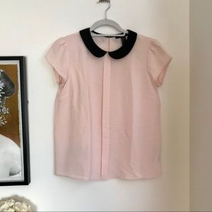 Forever 21 pink w/ black collar blouse sz small